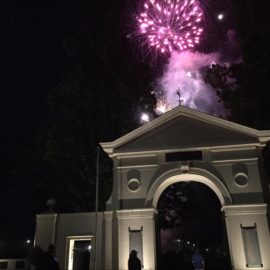 Fireworks over the Mansfield Memorial Gates