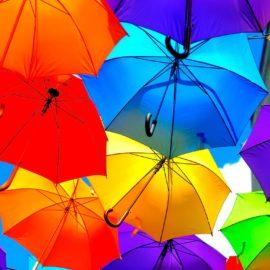 A bunch of colourful umbrellas